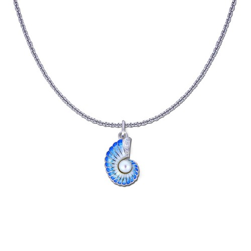 Guy Harvey Petite Nautilus Shell on a Sterling Silver Link Chain