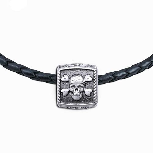 Guy Harvey Pirate Trophy Slide  Necklace on a Leather Color Cord