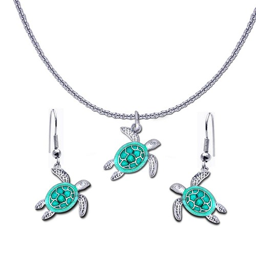 Guy Harvey Petite Sea Turtle Necklace and Earring Set