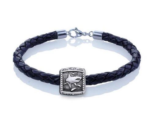 Guy Harvey Shark Trophy Slide Leather Bracelet