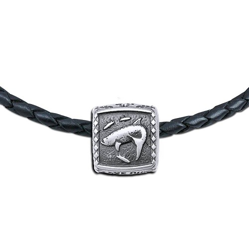 Guy Harvey Tarpon Trophy Slide Necklace on a Leather Color Cord